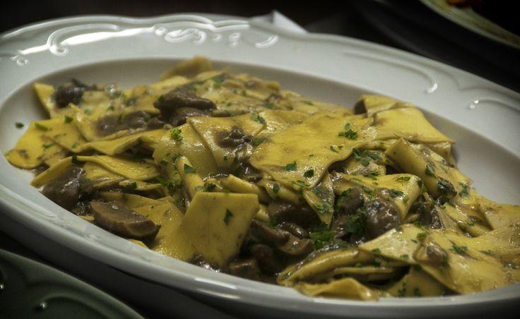 Fresh hand cut Maltagliati pasta with Funghi Porcini and Nepitella herb. Tuscan style. All Rights Reserved GUIDI LENCI www.guidilenci.com