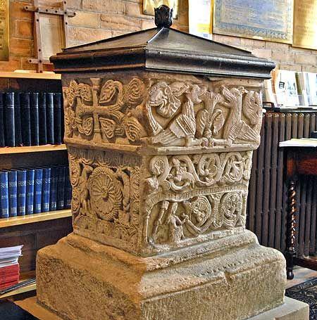 Stone Font, St Bridgets Church, Bridekirk, Cumbria.