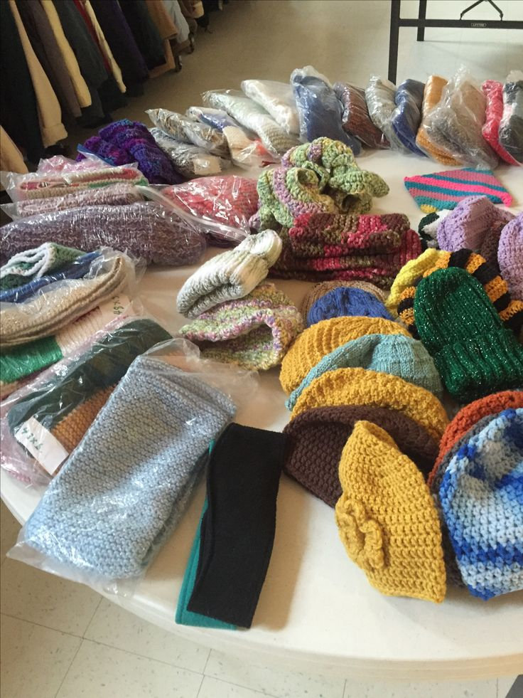 Knitted and crocheted hats, scarves, mittens by The Knitting Ministry for our annual winter coat giveaway Pittston PA
