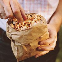 spiced popcorn using: 2 teaspoons chili powder 1 teaspoon paprika 1/2 teaspoon cayenne peppe