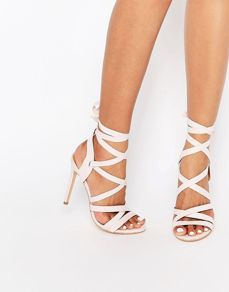 True Decadence Ribbon Tie Up Heeled Sandals