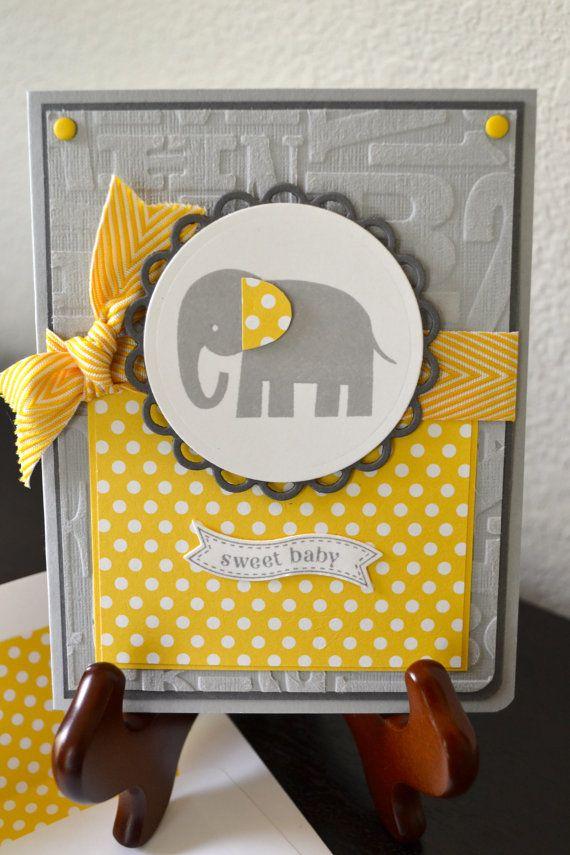 Sweet Baby Elephant Card by TheRoundedCorner on Etsy, $5.00
