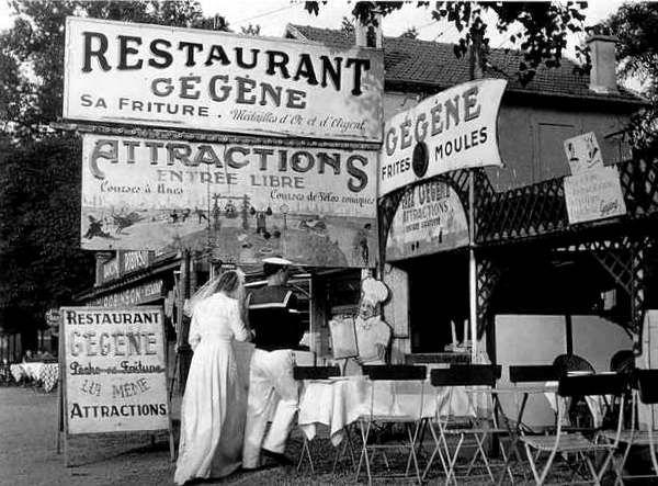 """The bride and the groom""""Chez Gégenne """"à Joinville le Pont 1946 Robert Doisneau"""
