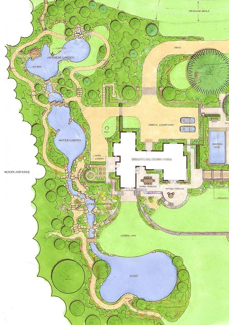 Masterplan of water gardens by Acres Wild