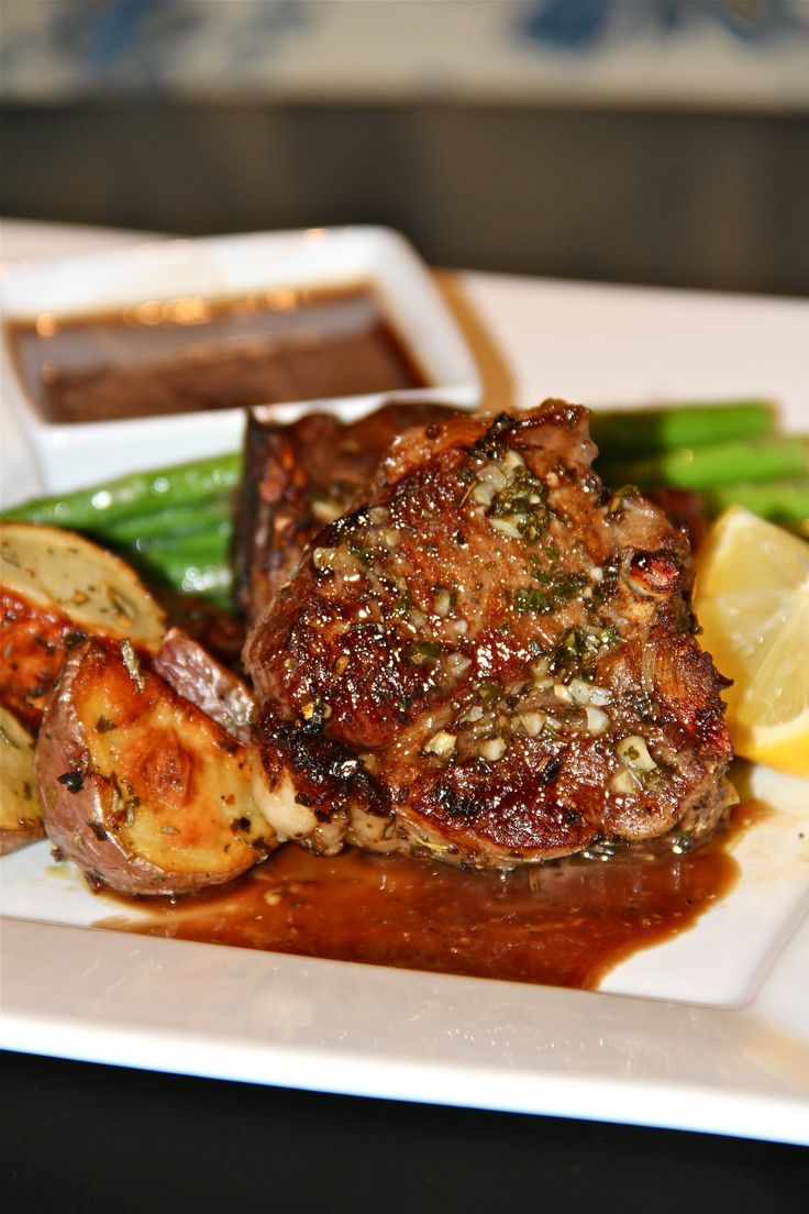 Lemon Rosemary Lamb Chops with Honey-Balsamic Dipping Sauce. I'll have to try it with pork chops