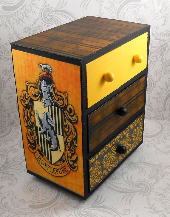 Custom Tassorosso nero e giallo Hogwart casa Harry Potter Stash portagioie