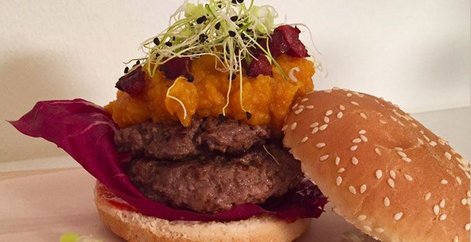 Beef Burger with Sweet Potato Mash, Chorizo and Gruyère - www.FoodFamily.net