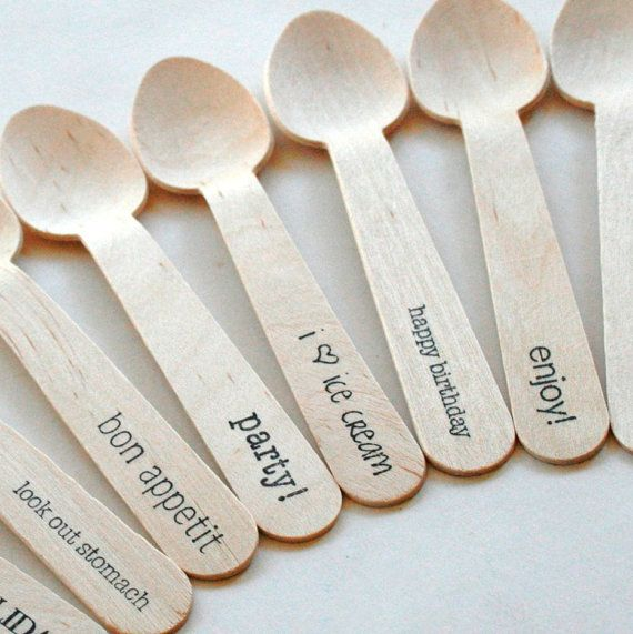 Disposable and compostable wooden cutlery! Can be customized for any special occasion!