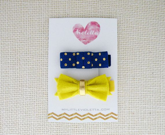 Set of 2 Hair Clips  Blue x Gold Polkadot & by MyLittleVioletta