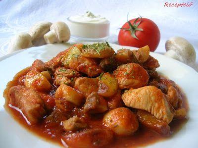 Receptelő: Paradicsomos, gombás csirkemell ragu pirított fokhagymával