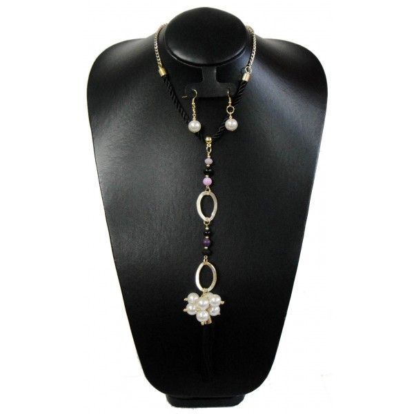 Juego de Collar y Aretes con Perlas y Cordón de Seda