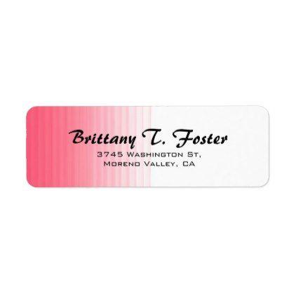 Pink White Curve Brush Script Elegant Minimalist Label - return address labels label diy personalize cyo unique design custom