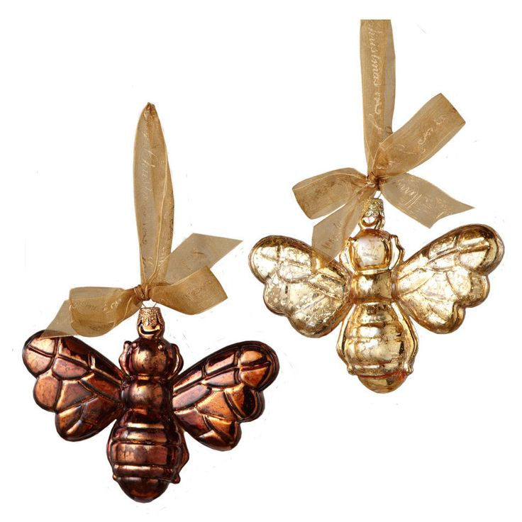 Sage Co 5 Inch Glass Bee Ornament Assortment Of 2 Pack