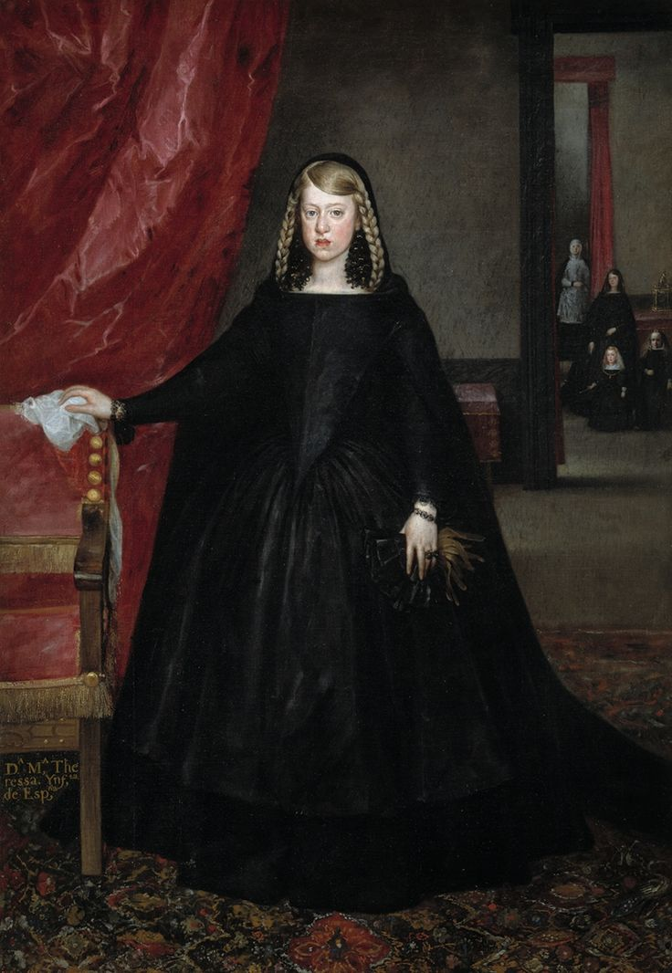 The Infanta Margaret Theresa (1651–73), in mourning dress for her father in 1666, by Juan del Mazo. The background figures include her young brother Charles II and the dwarf Maribarbola, also in Las Meninas. She left Spain for her marriage in Vienna the same year. | http://www.pinterest.com/pin/138837600986879707/