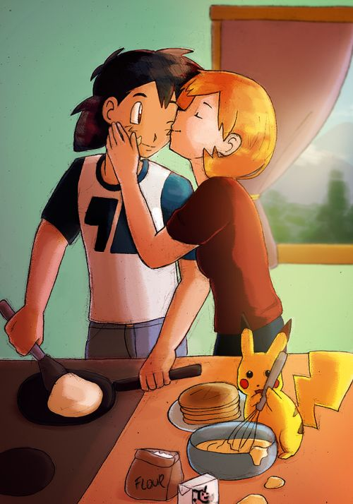 Ash and Misty making pancakes together with Pikachu