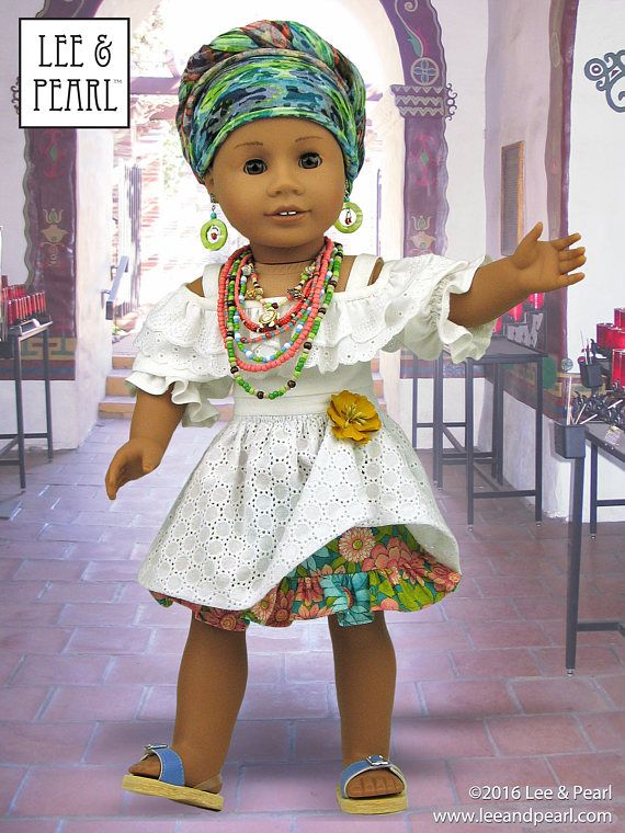 Create the perfect Afro-Brazilian Baiana wardrobe for your American Girl doll using Lee & Pearl Pattern #1035: Olá Brasil! Off-the-Shoulder Samba Top and Bahia Dress, and Traditional Brazilian Baiana Headwrap for 18 Inch Dolls