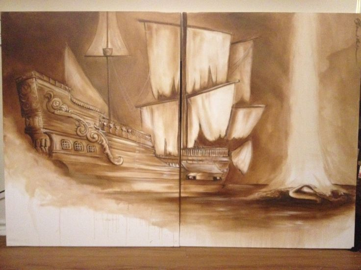 Goonies pirate ship. (2 canvases) 30x80 oil on canvas