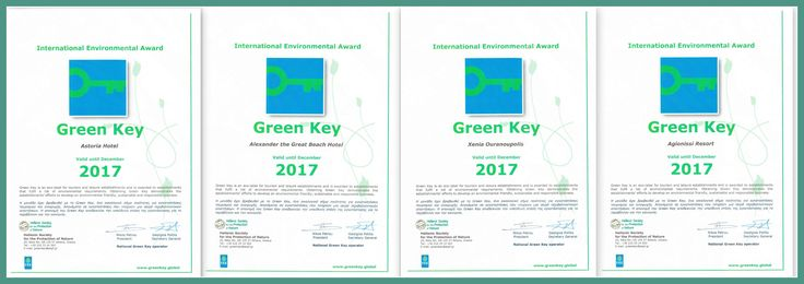 Sustainable Hotels of Papcorp. Green Key holders