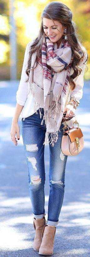 Statement Plaid Scarf On Classics Fall Inspo by Southern Curls and pearls