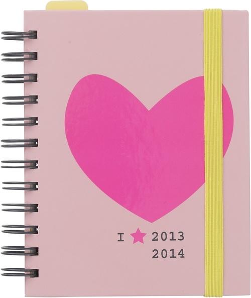 Neon pink and yellow Hema schoolagenda 2013-2014.