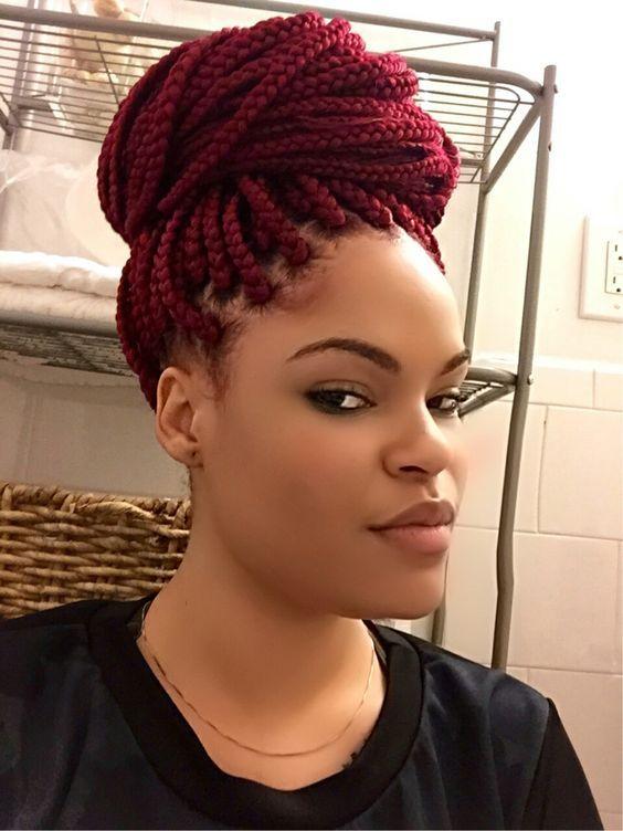 18inch Crochet Box Braid Hair Extensions Ombre Burgundy