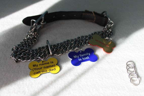 Personalized Engraved Bone Shape Pet Dog Cat Tag Id With Ring
