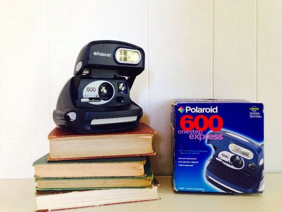 TESTED Working Polaroid Camera 600 OneStep Express in Dark Blue With Box + Manual - Uses 600 Film - Old Vintage Retro Hipster 1990s Warranty on Etsy, $46.00