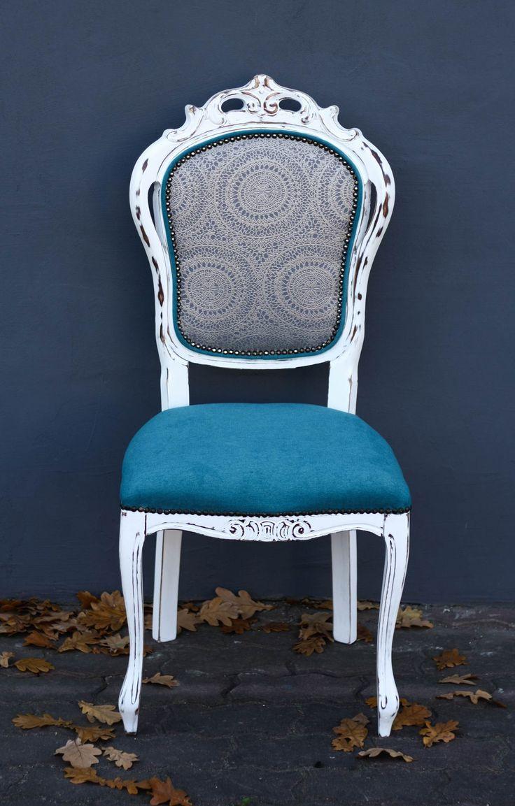 /Krzesło bielone/ /SHABBY CHIC/ /www.pracownia-lili.pl/