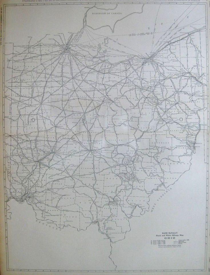 1920 Antique OHIO Map Rare Poster Print