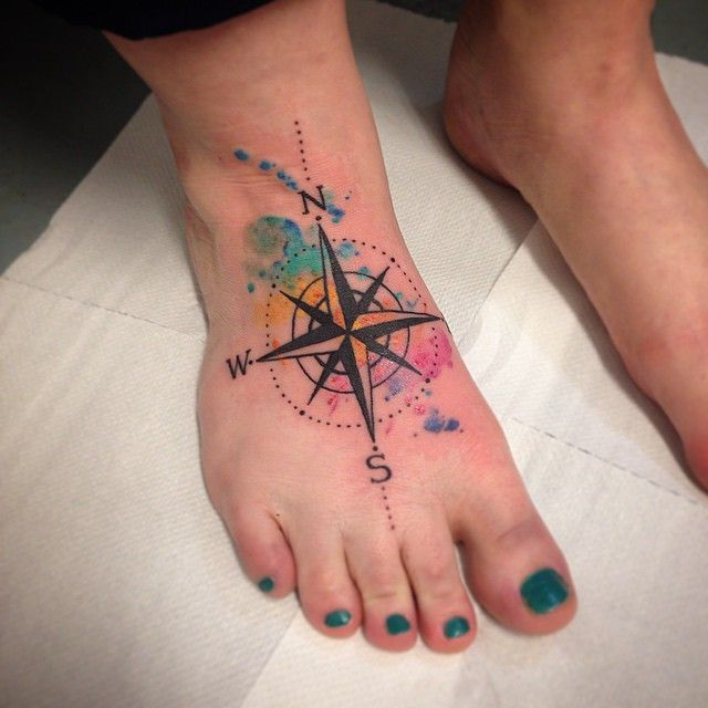 watercolor compass tattoos - Google Search