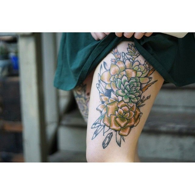 Another go on the succulents  #succulenttattoo #succulent #tattoos #tattoo #neotraditional
