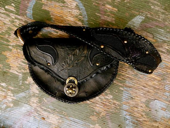 Dark Heart leather purse. Stingray and python inlay.  Handmade. Azrael's Circus designs. https://www.facebook.com/azraelscircus