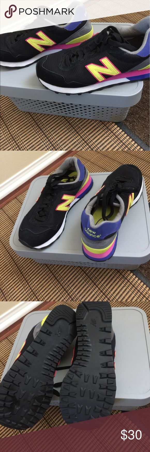 Ladies New balance-Sneakers retro looking Only wore once ladies  very rare new Balance sneakers very retro looking  size 7  color black base with pink yellow  purple accents strip New Balance Shoes Sneakers