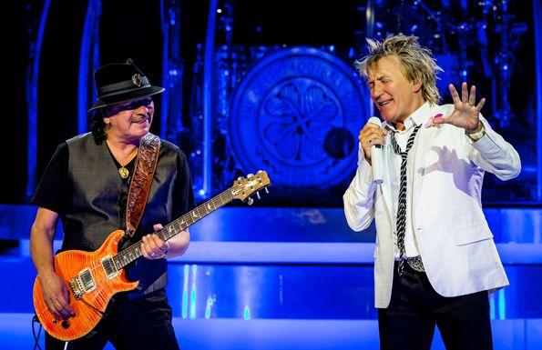 Carlos Santana and  Rod Stewart Las Vegas Nevada May 2014
