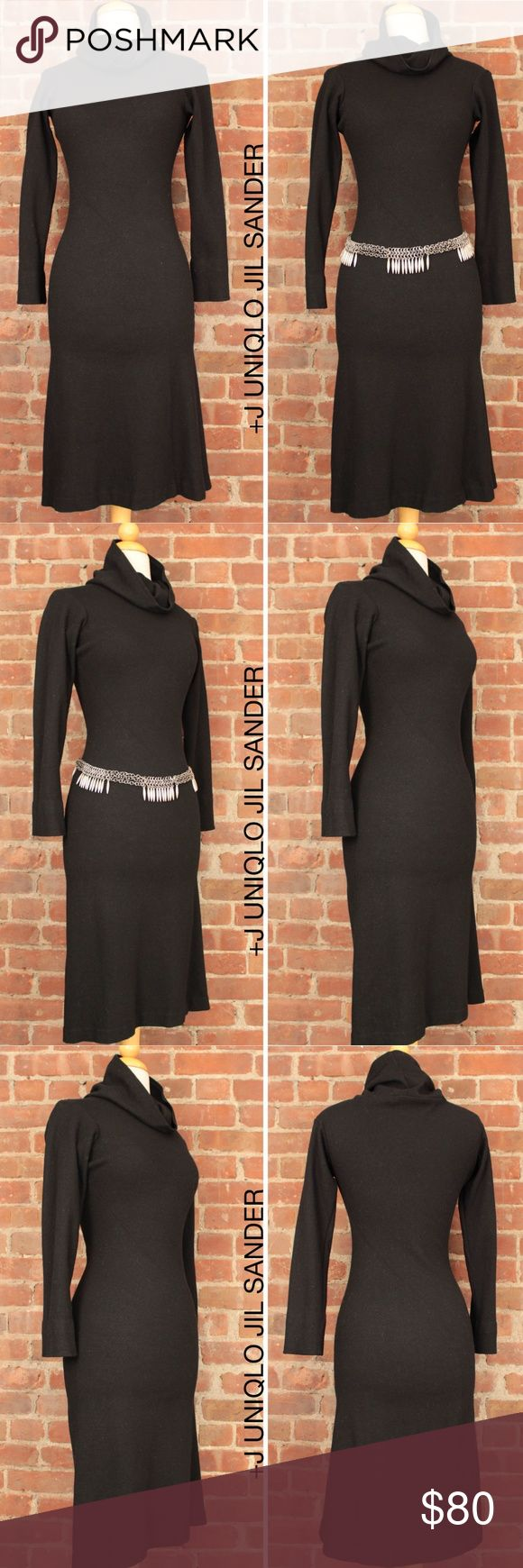 "Bias Cut Cowl Neck Fitted Sweater Knee Dress 299 JIL SANDER Cowl Neck Dress Wool Long Jersey Sleeve Black Bias Fit +J Modest but sexy and slimming! Uniqlo Collaboration Cowl Neck Double Wool Jersey Bias Cut Mid Calf Length Fitted Mermaid Flare Bias. It is made of double stretchy wool and cut on the bias.   Retails: $150 Size: Small   Armpit to Armpit: 16"" Length: 40"" Shoulder: 17"" Sleeves: 21"" Waist: 13"" Condition: Very Good! Comes from smoke and pet free environment! SKU: 299 All…"