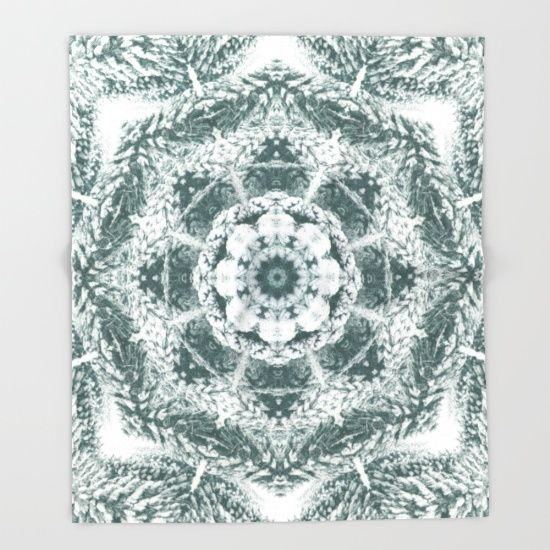 Winter snowy spruce forest mandala throw blanket by Crazy4patterns #winter #snow #mandala