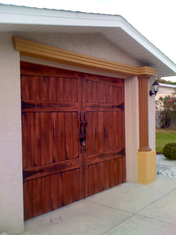 78 images about garage door mural on pinterest gardens for Faux wood doors