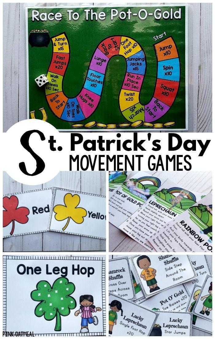 St. Patrick's Day activities that promote physical activity!  These games are meant to keep kids moving with a St. Patrick's Day theme.  They are great for a brain break and great for the entire month of March.  Perfect St. Patrick's Day printables as most are print and go!