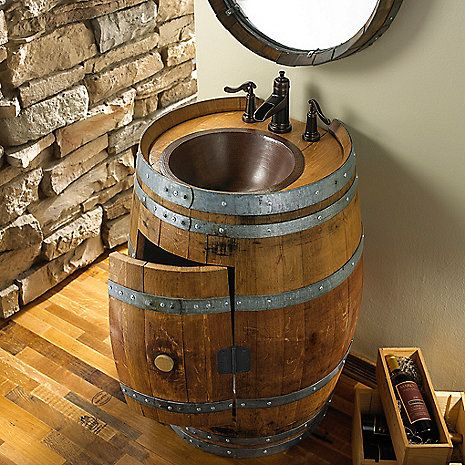 Reclaimed Wine Barrel Vanity at Wine Enthusiast - $1,495.00