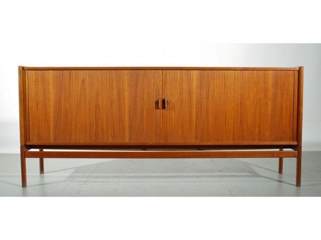 57: Arne Halvorsen Teak Tambour Sideboard Cabinet : Lot 57
