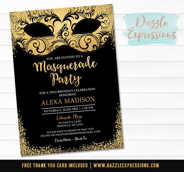 Printable Black and Gold Masquerade Invitation | Elegant Birthday Party | Black Tie Event | Mask or Costume Party | 16th, 18th, 21st, 30th, 40th, 50th Invitation | Favor Tags | Cupcake Toppers | Sign | Photo Props | Food Label | Banner | Party Package Decor
