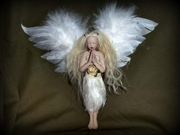 Handmade polymer clay heirloom Christmas tree topper angel by Mermaids Dreaming