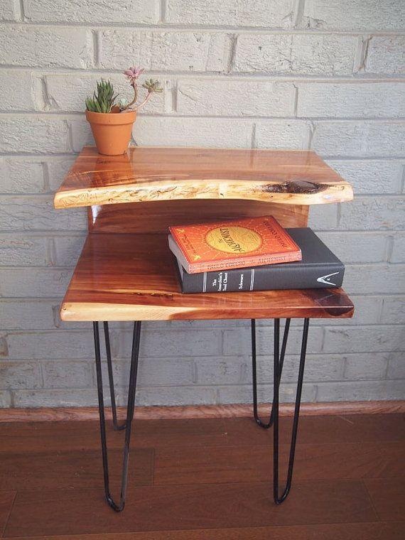 Red Cedar Side Table - habitat woodworks https://www.etsy.com/shop/HabitatWoodworks  idea: same design with a drawer but a floating mount