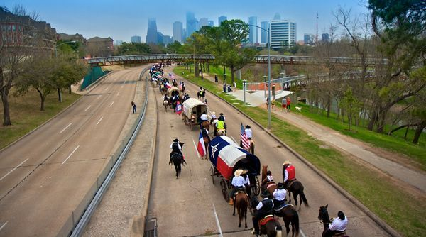 Riders headed for the Houston Livestock Show and Rodeo on the annual trail-ride into Houston.