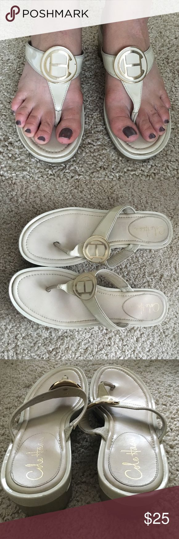 Cole Hahn 8 off white wedge flip-flops Stylish and fun Cole Haan off white with gold accents wedge flip flop sandals size 8M. Cole Haan Shoes Wedges