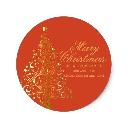 #Red & Gold Personalized Christmas Address Labels - #Xmas #ChristmasEve Christmas Eve #Christmas #merry #xmas #family #kids #gifts #holidays #Santa