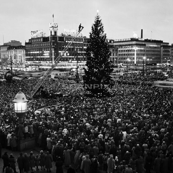 Juletræet tændes 1954.
