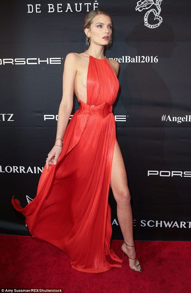 Work it: Lily Donaldson strutted down the red carpet at Monday night's star-studded Angel Ball in a jaw-dropping dress
