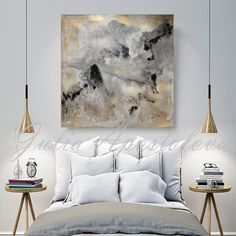 Watercolor Abstract Painting, Contemporary Art, Print, Huge Wall Art, Gold and…