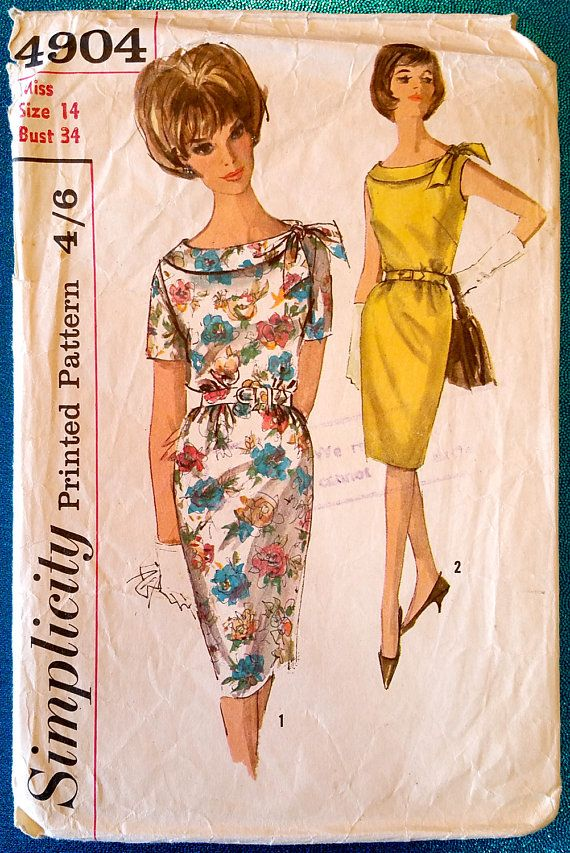 """Vintage 1960s shift dress with roll tie collar sewing pattern - Simplicity 4904 - size 14 (34"""" bust, 26"""" waist, 36"""" hip) - circa 1963"""